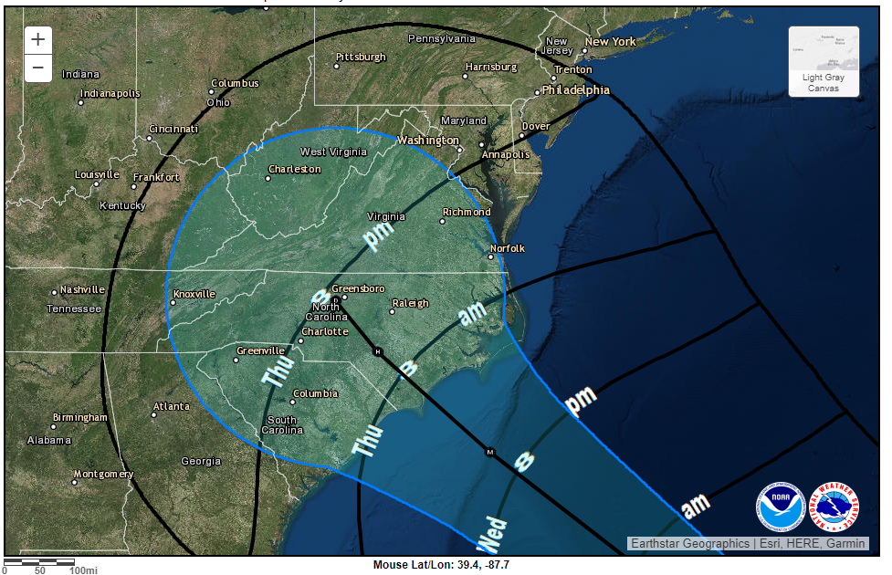 "Projected path as of 10 Sept. Expect upwards of 20"" of rain near the center."